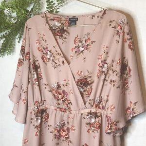Torrid Blush Faux Wrap Floral Top  Size: 1 14-16)